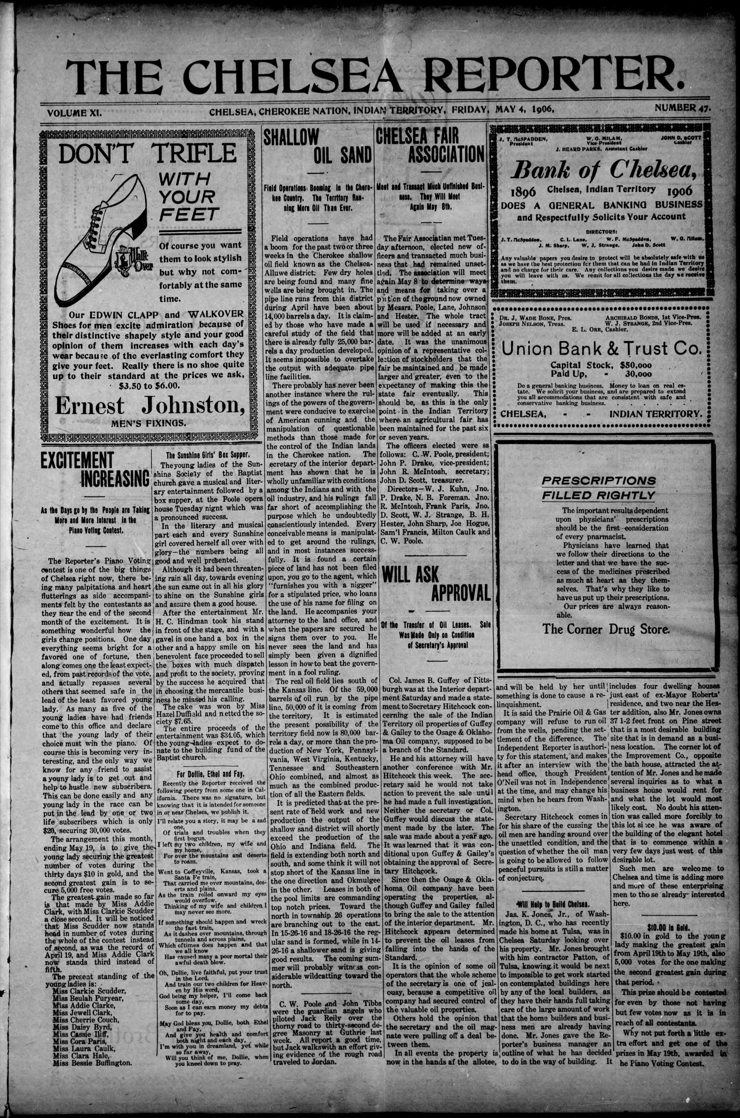 The Chelsea Reporter. (Chelsea, Indian Terr.), Vol. 11, No. 47, Ed. 1 Friday, May 4, 1906                                                                                                      [Sequence #]: 1 of 6