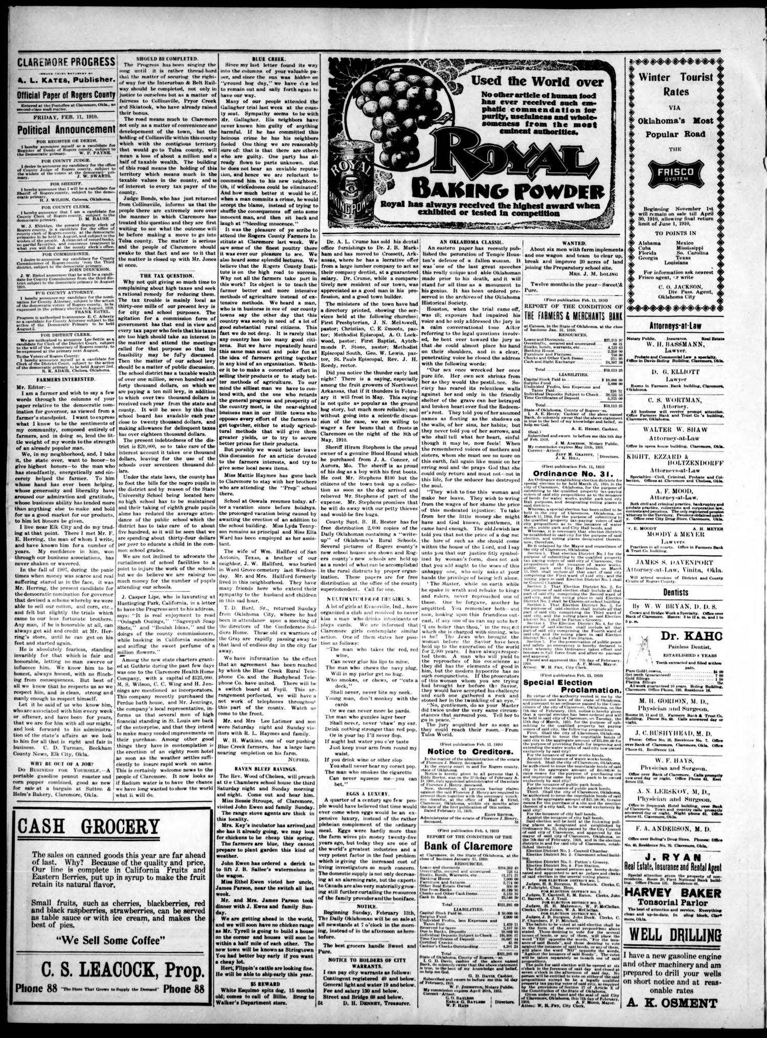 Claremore Progress. And Rogers County Democrat (Claremore, Okla.), Vol. 18, No. 1, Ed. 1 Friday, February 11, 1910                                                                                                      [Sequence #]: 4 of 8