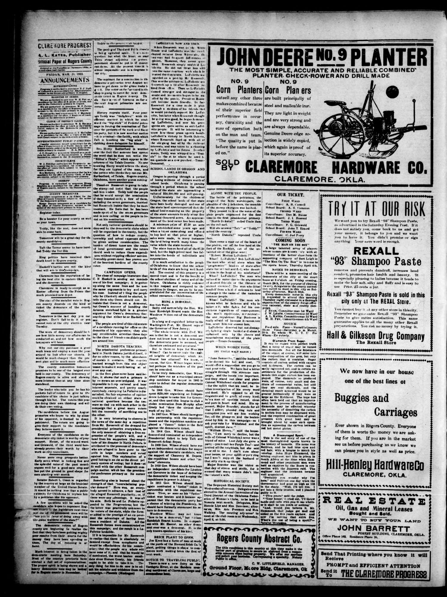 Claremore Progress. And Rogers County Democrat (Claremore, Okla.), Vol. 20, No. 9, Ed. 1 Friday, March 29, 1912                                                                                                      [Sequence #]: 4 of 8