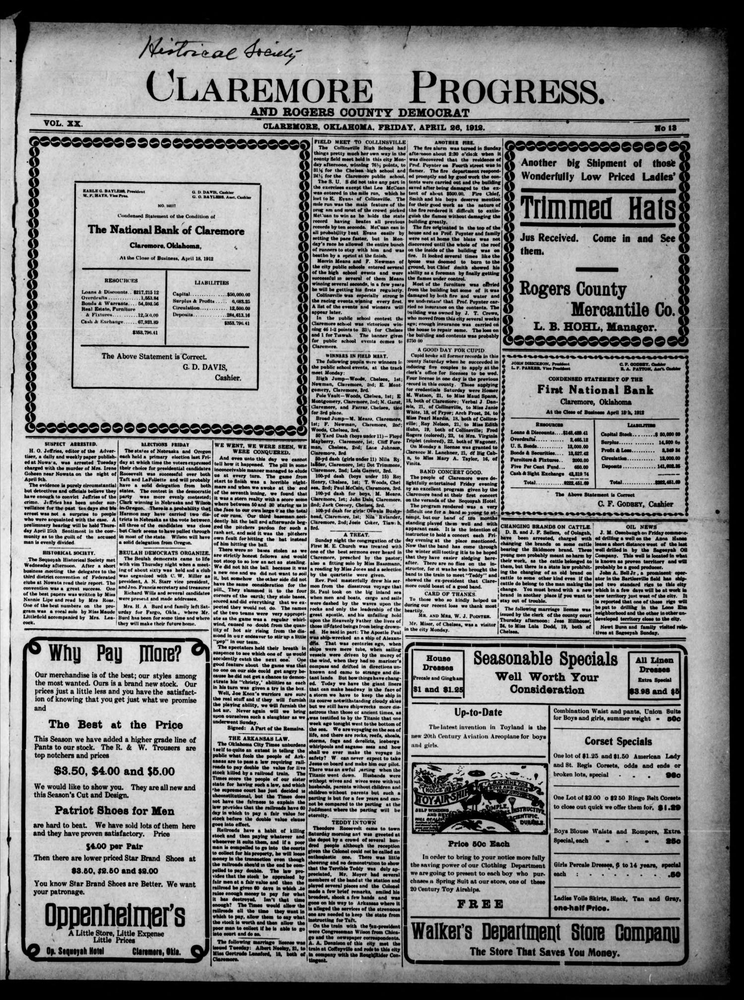 Claremore Progress. And Rogers County Democrat (Claremore, Okla.), Vol. 20, No. 13, Ed. 1 Friday, April 26, 1912                                                                                                      [Sequence #]: 1 of 8