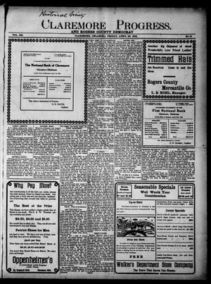 Primary view of object titled 'Claremore Progress. And Rogers County Democrat (Claremore, Okla.), Vol. 20, No. 13, Ed. 1 Friday, April 26, 1912'.
