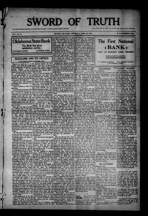 Primary view of object titled 'Sword of Truth (Sentinel, Okla.), Vol. 1, No. 33, Ed. 1 Wednesday, April 30, 1913'.