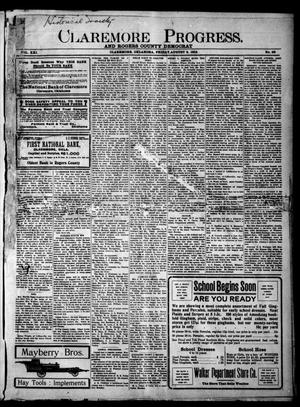 Primary view of object titled 'Claremore Progress. And Rogers County Democrat (Claremore, Okla.), Vol. 21, No. 28, Ed. 1 Friday, August 8, 1913'.