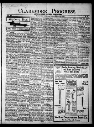 Primary view of object titled 'Claremore Progress. And Rogers County Democrat (Claremore, Okla.), Vol. 21, No. 31, Ed. 1 Friday, August 29, 1913'.