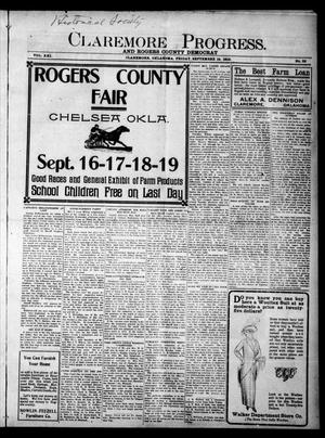 Primary view of object titled 'Claremore Progress. And Rogers County Democrat (Claremore, Okla.), Vol. 21, No. 33, Ed. 1 Friday, September 12, 1913'.