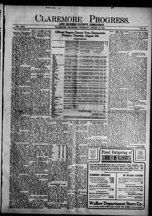 Primary view of object titled 'Claremore Progress. And Rogers County Democrat (Claremore, Okla.), Vol. 22, No. 34, Ed. 1 Thursday, August 13, 1914'.