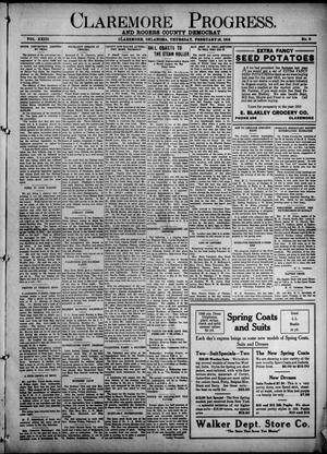 Primary view of object titled 'Claremore Progress. And Rogers County Democrat (Claremore, Okla.), Vol. 23, No. 2, Ed. 1 Thursday, February 18, 1915'.