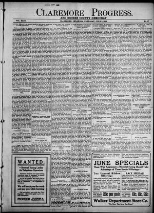 Primary view of object titled 'Claremore Progress. And Rogers County Democrat (Claremore, Okla.), Vol. 23, No. 17, Ed. 1 Thursday, June 3, 1915'.