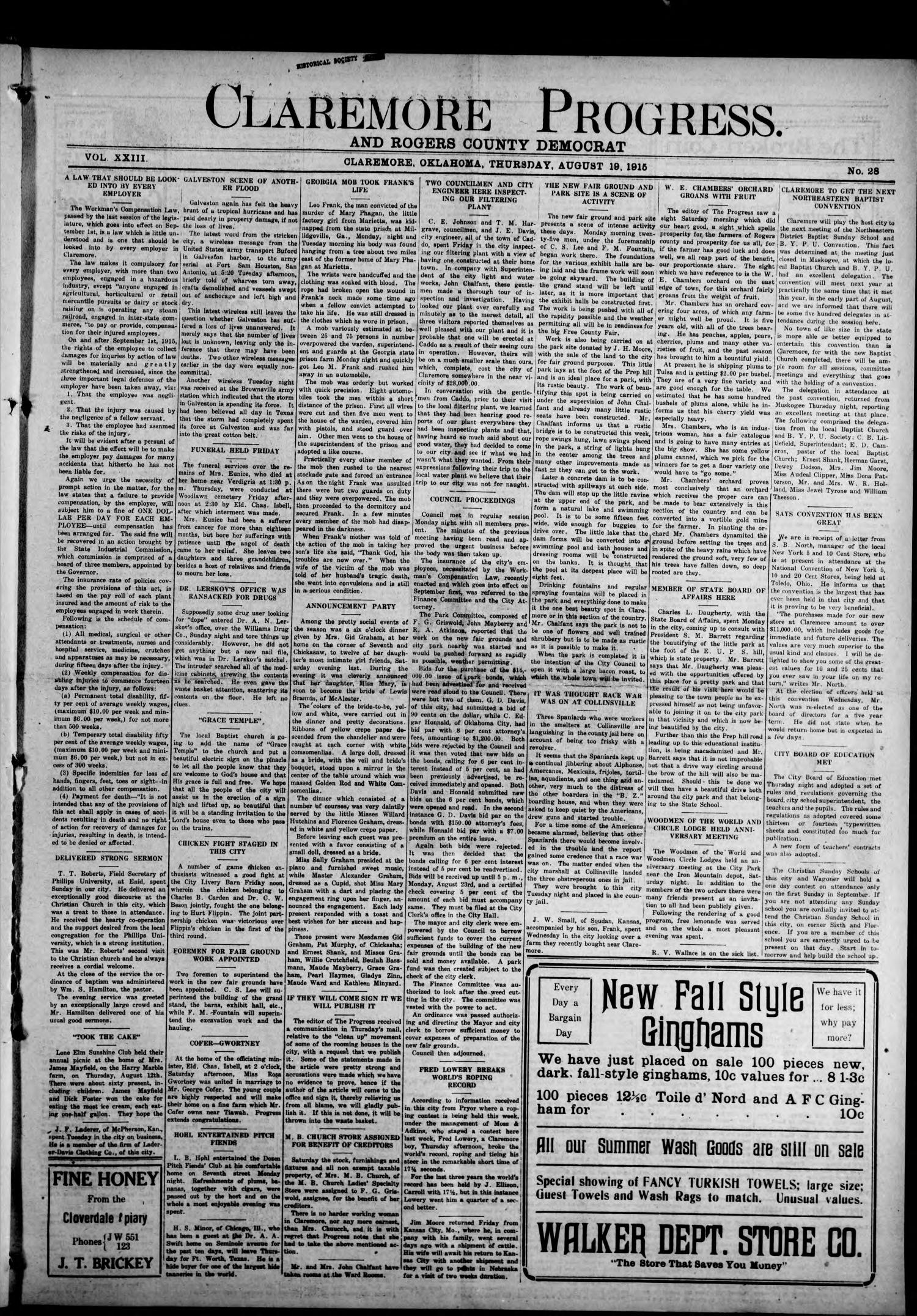 Claremore Progress. And Rogers County Democrat (Claremore, Okla.), Vol. 23, No. 28, Ed. 1 Thursday, August 19, 1915                                                                                                      [Sequence #]: 1 of 8