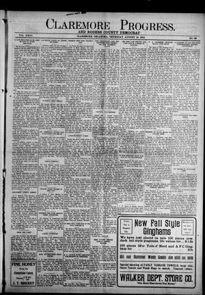 Primary view of object titled 'Claremore Progress. And Rogers County Democrat (Claremore, Okla.), Vol. 23, No. 28, Ed. 1 Thursday, August 19, 1915'.
