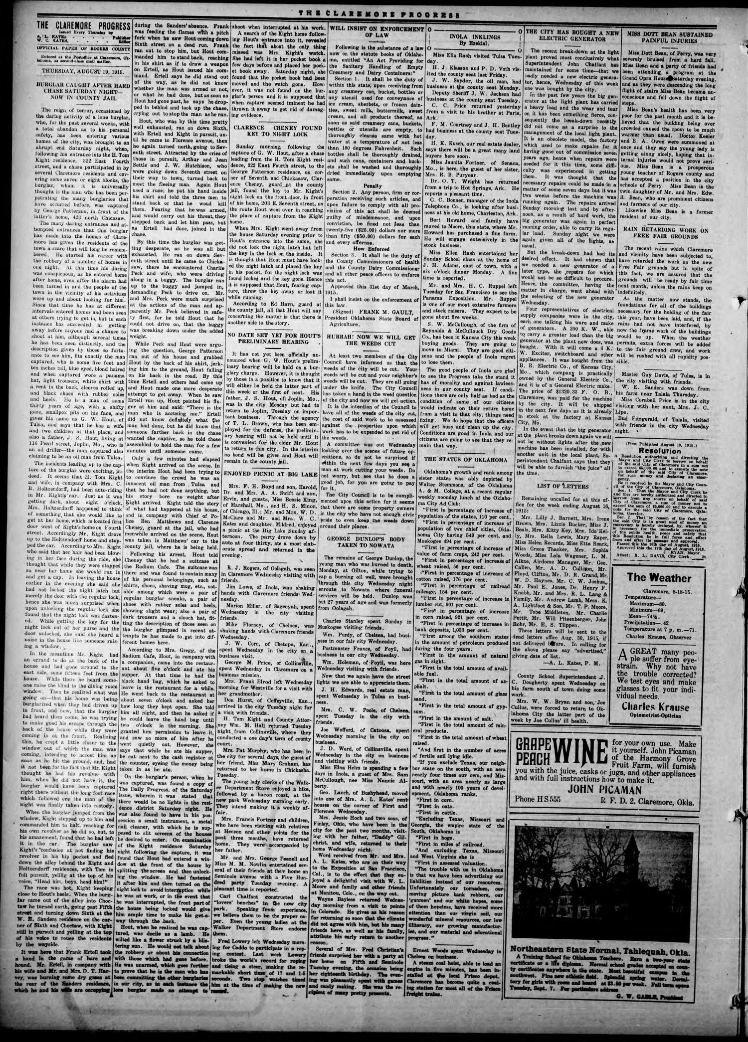 Claremore Progress. And Rogers County Democrat (Claremore, Okla.), Vol. 23, No. 28, Ed. 1 Thursday, August 19, 1915                                                                                                      [Sequence #]: 4 of 8