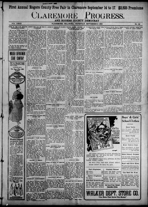 Primary view of object titled 'Claremore Progress. And Rogers County Democrat (Claremore, Okla.), Vol. 23, No. 30, Ed. 1 Thursday, September 2, 1915'.