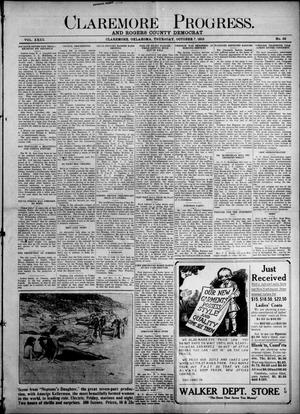 Primary view of object titled 'Claremore Progress. And Rogers County Democrat (Claremore, Okla.), Vol. 23, No. 35, Ed. 1 Thursday, October 7, 1915'.
