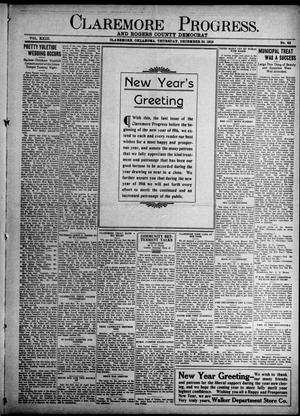 Primary view of object titled 'Claremore Progress. And Rogers County Democrat (Claremore, Okla.), Vol. 23, No. 48, Ed. 1 Thursday, December 30, 1915'.