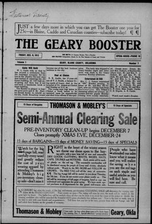 Primary view of object titled 'The Geary Booster (Geary, Okla.), Vol. 1, No. 7, Ed. 1 Friday, December 6, 1912'.