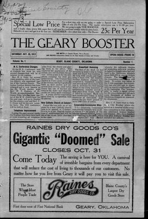 Primary view of object titled 'The Geary Booster (Geary, Okla.), Vol. 1, No. 1, Ed. 1 Saturday, October 26, 1912'.