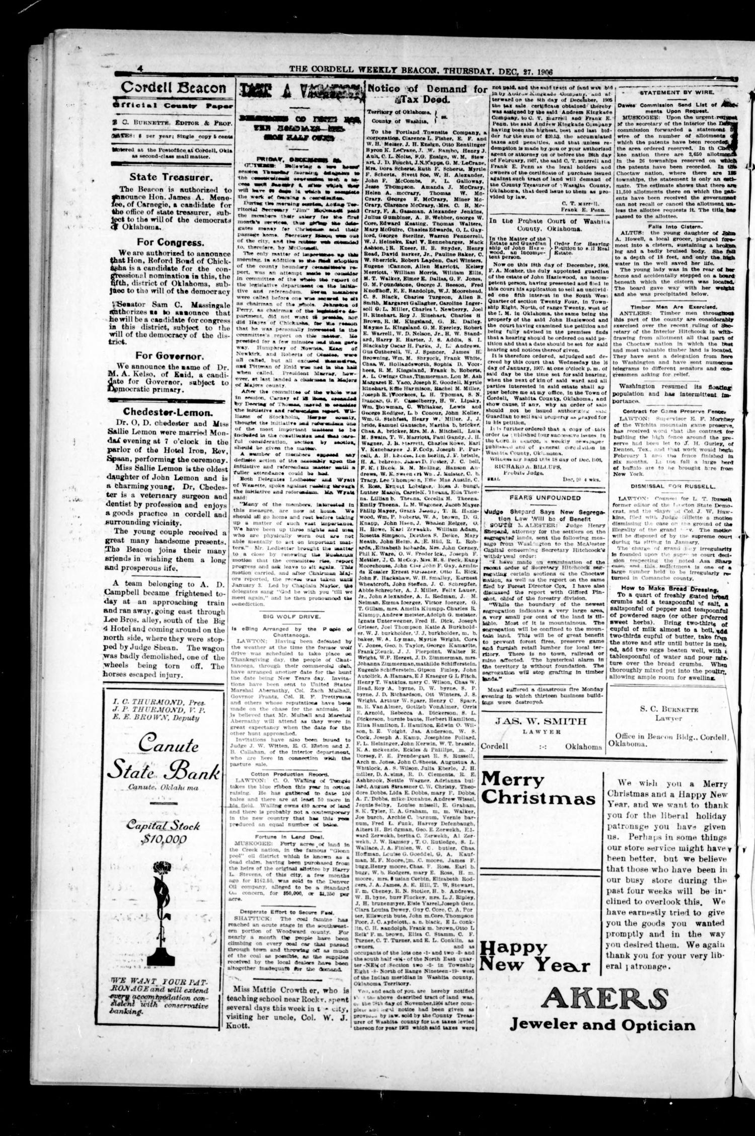 The Cordell Weekly Beacon. (Cordell, Okla.), Vol. 10, No. 23, Ed. 1 Thursday, December 27, 1906                                                                                                      [Sequence #]: 4 of 8