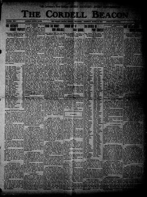 Primary view of The Cordell Beacon (Cordell, Okla.), Vol. 19, No. 35, Ed. 1 Thursday, March 16, 1916