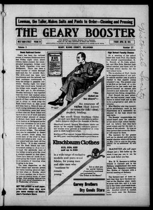 Primary view of object titled 'The Geary Booster (Geary, Okla.), Vol. 3, No. 27, Ed. 1 Friday, April 30, 1915'.