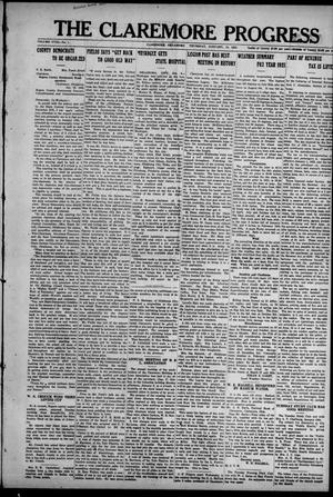 Primary view of object titled 'The Claremore Progress (Claremore, Okla.), Vol. 18, No. 1, Ed. 1 Thursday, January 12, 1922'.