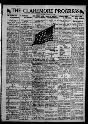 Primary view of object titled 'The Claremore Progress (Claremore, Okla.), Vol. 26, No. 24, Ed. 1 Thursday, July 4, 1918'.