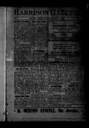 Primary view of object titled 'Harrison Gazette. (Harrison, Okla.), Vol. 2, No. 51, Ed. 1 Friday, September 11, 1903'.