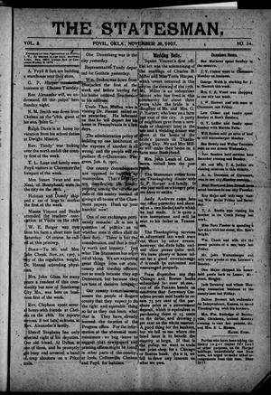 Primary view of object titled 'The Statesman. (Foyil, Okla.), Vol. 3, No. 34, Ed. 1 Saturday, November 30, 1907'.