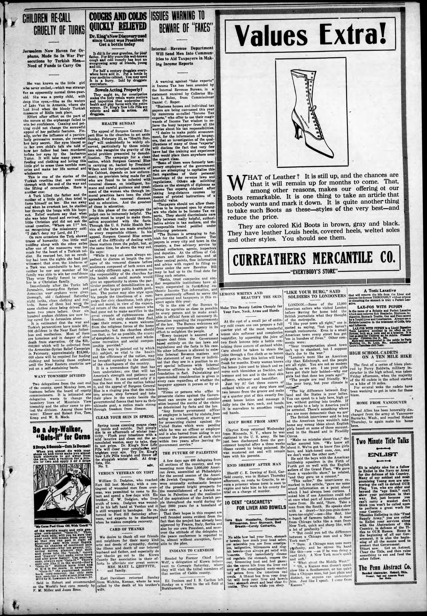 The Weekly Democrat-Chief (Hobart, Okla.), Vol. 18, No. 28, Ed. 1 Thursday, February 6, 1919                                                                                                      [Sequence #]: 3 of 10