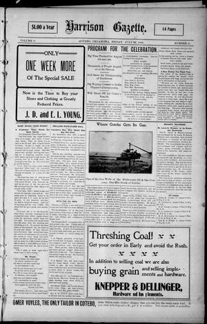 Primary view of object titled 'Harrison Gazette. (Gotebo, Okla.), Vol. 5, No. 51, Ed. 1 Friday, July 27, 1906'.
