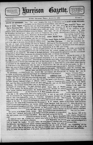 Primary view of object titled 'Harrison Gazette. (Gotebo, Okla.), Vol. 5, No. 1, Ed. 1 Friday, August 11, 1905'.