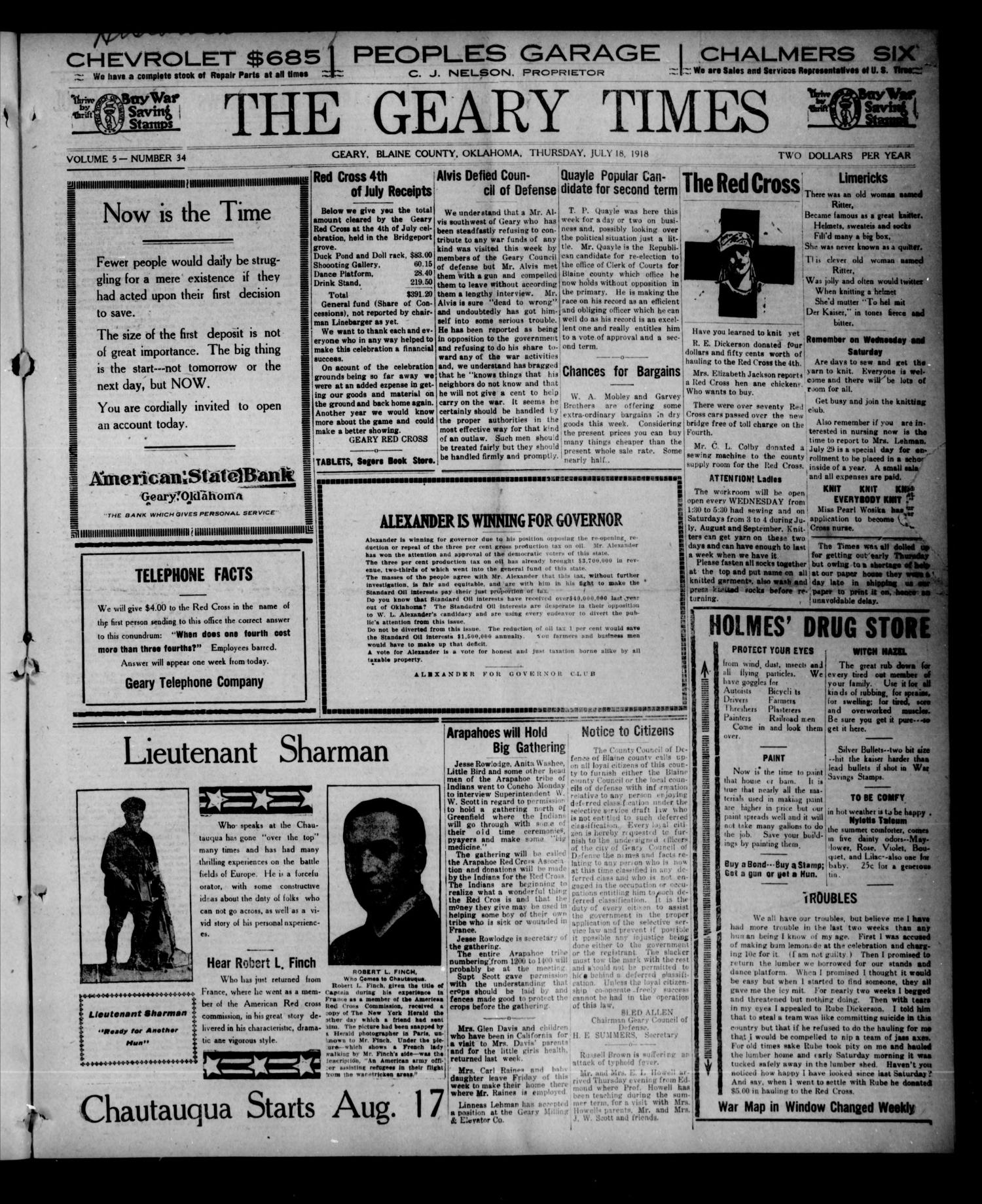 The Geary Times (Geary, Okla.), Vol. 5, No. 35, Ed. 1 Thursday, July 18, 1918                                                                                                      [Sequence #]: 1 of 8