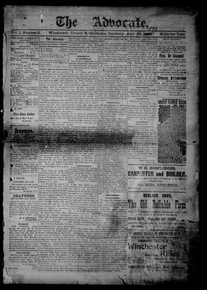Primary view of object titled 'The Advocate. (Woodward, Okla. Terr.), Vol. 1, No. 2, Ed. 1 Friday, September 29, 1893'.
