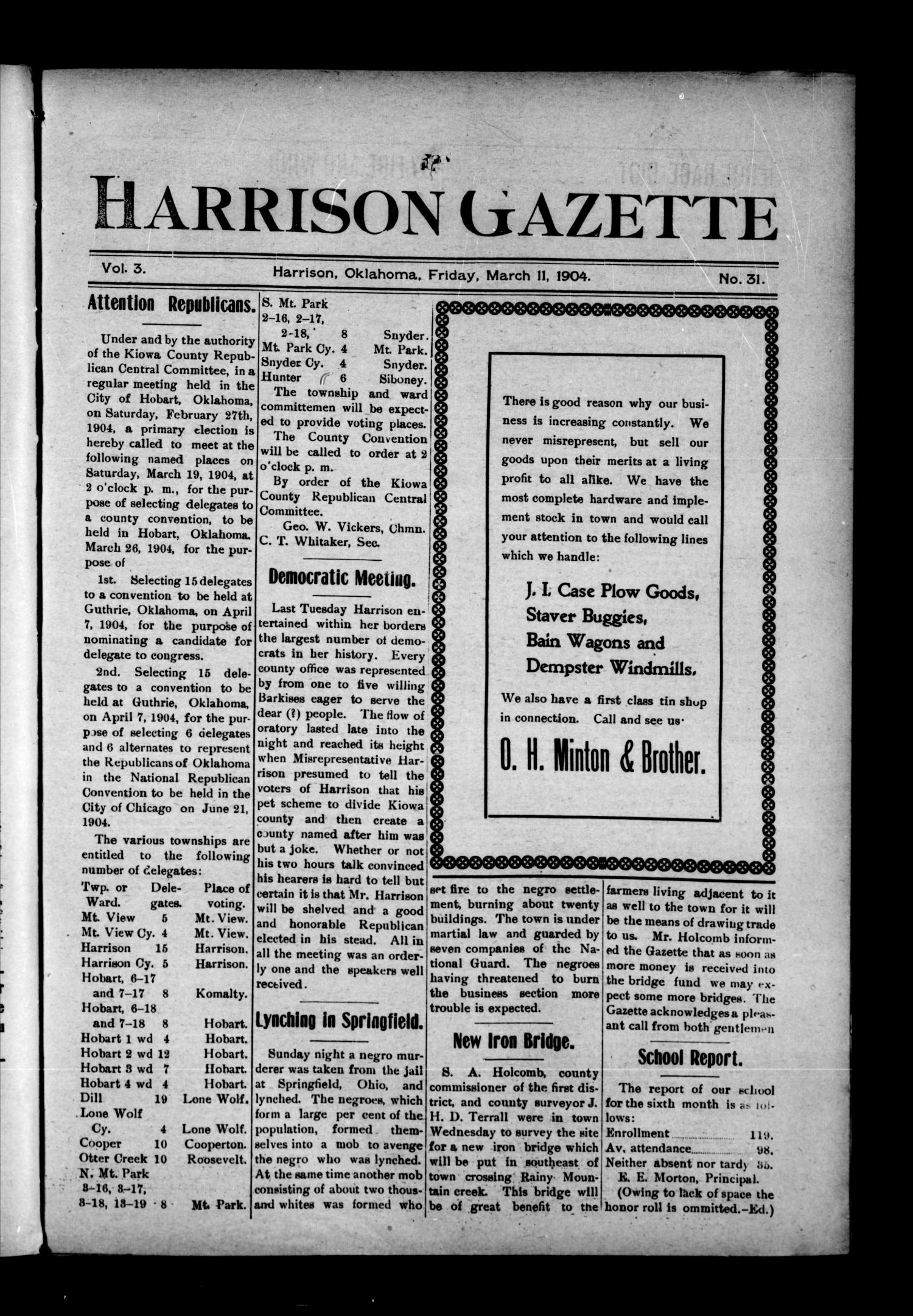Harrison Gazette (Harrison, Okla.), Vol. 3, No. 31, Ed. 1 Friday, March 11, 1904                                                                                                      [Sequence #]: 1 of 12