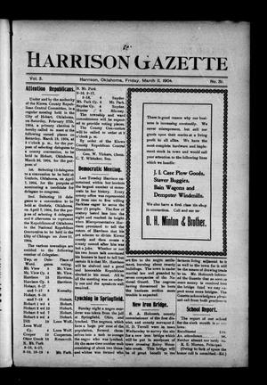 Primary view of object titled 'Harrison Gazette (Harrison, Okla.), Vol. 3, No. 31, Ed. 1 Friday, March 11, 1904'.