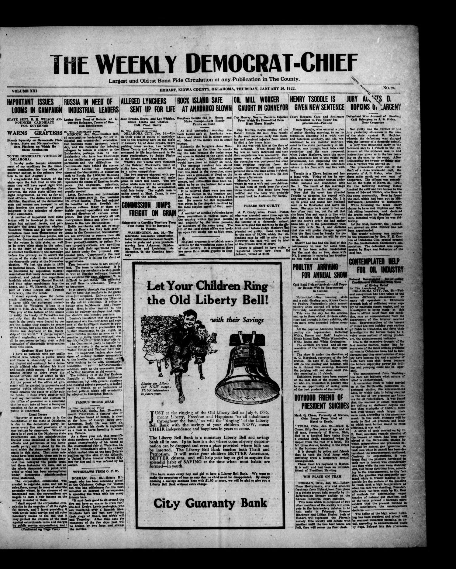 The Weekly Democrat-Chief (Hobart, Okla.), Vol. 21, No. 26, Ed. 1 Thursday, January 26, 1922                                                                                                      [Sequence #]: 1 of 8