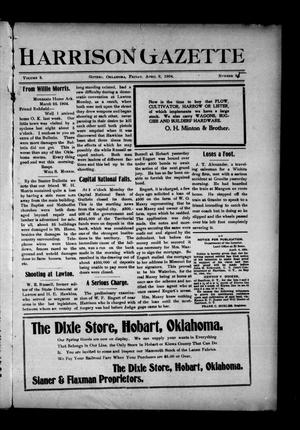 Primary view of object titled 'Harrison Gazette (Gotebo, Okla.), Vol. 3, No. 85, Ed. 1 Friday, April 8, 1904'.