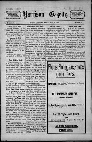 Primary view of object titled 'Harrison Gazette. (Gotebo, Okla.), Vol. 4, No. 44, Ed. 1 Friday, June 9, 1905'.