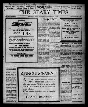 Primary view of object titled 'The Geary Times (Geary, Okla.), Vol. 5, No. 10, Ed. 1 Thursday, January 3, 1918'.
