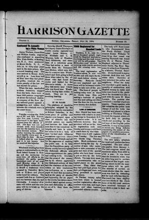 Primary view of object titled 'Harrison Gazette (Gotebo, Okla.), Vol. 3, No. 50, Ed. 1 Friday, July 22, 1904'.
