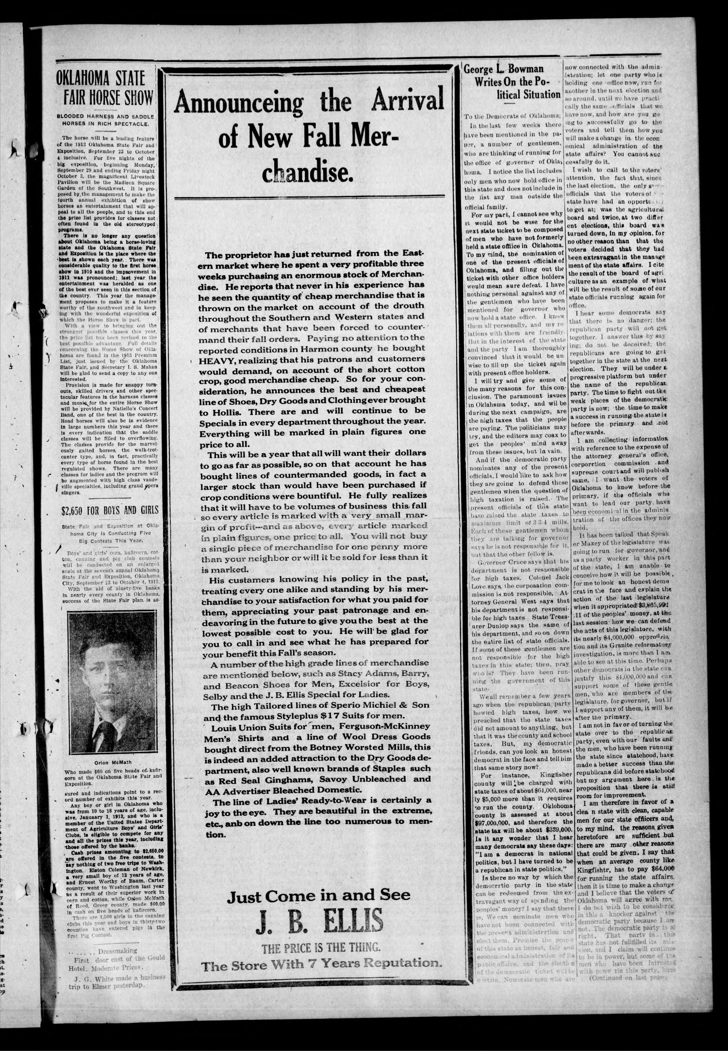 Hollis Post-Herald (Hollis, Okla.), Vol. 15, No. 7, Ed. 1 Thursday, September 11, 1913                                                                                                      [Sequence #]: 7 of 8