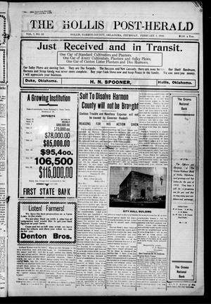 Primary view of The Hollis Post-Herald. (Hollis, Okla.), Vol. 7, No. 32, Ed. 1 Thursday, February 3, 1910