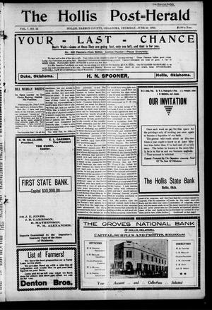 Primary view of object titled 'The Hollis Post--Herald (Hollis, Okla.), Vol. 7, No. 52, Ed. 1 Thursday, June 23, 1910'.