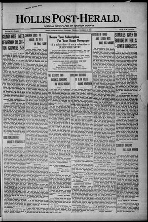 Primary view of Hollis Post-Herald. (Hollis, Okla.), Vol. 19, No. 3, Ed. 1 Thursday, December 1, 1921
