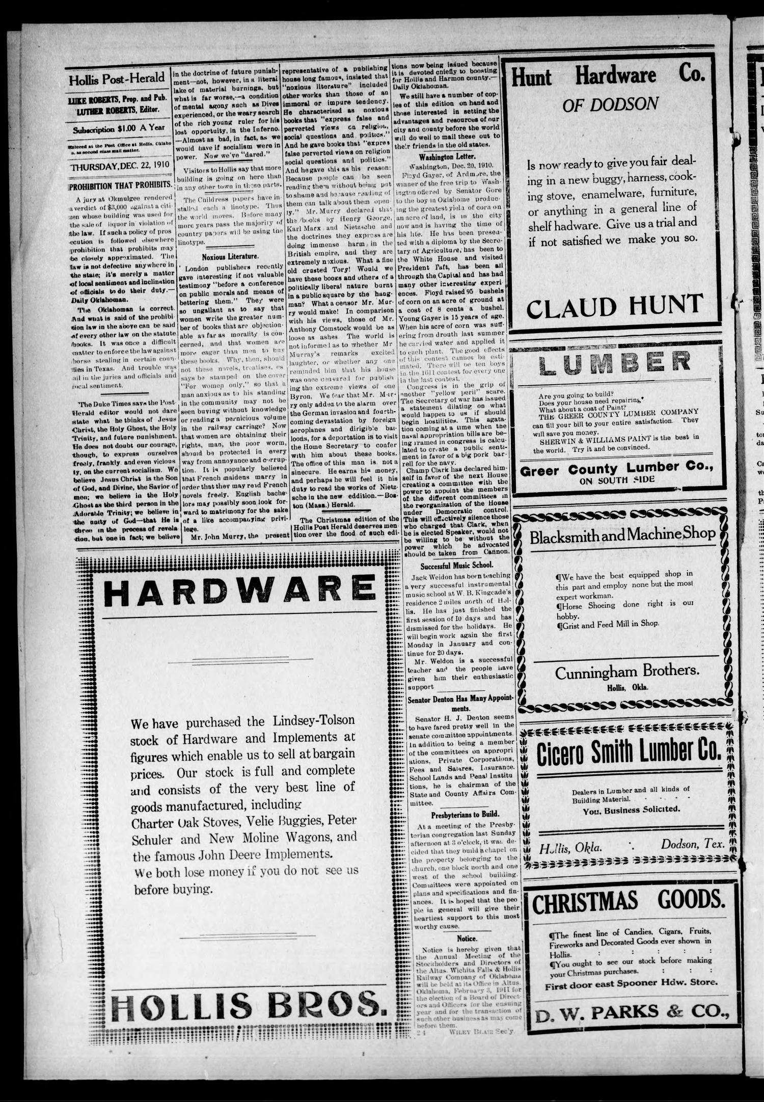 Hollis Post-Herald (Hollis, Okla.), Vol. 8, No. 25, Ed. 1 Thursday, December 22, 1910                                                                                                      [Sequence #]: 4 of 8
