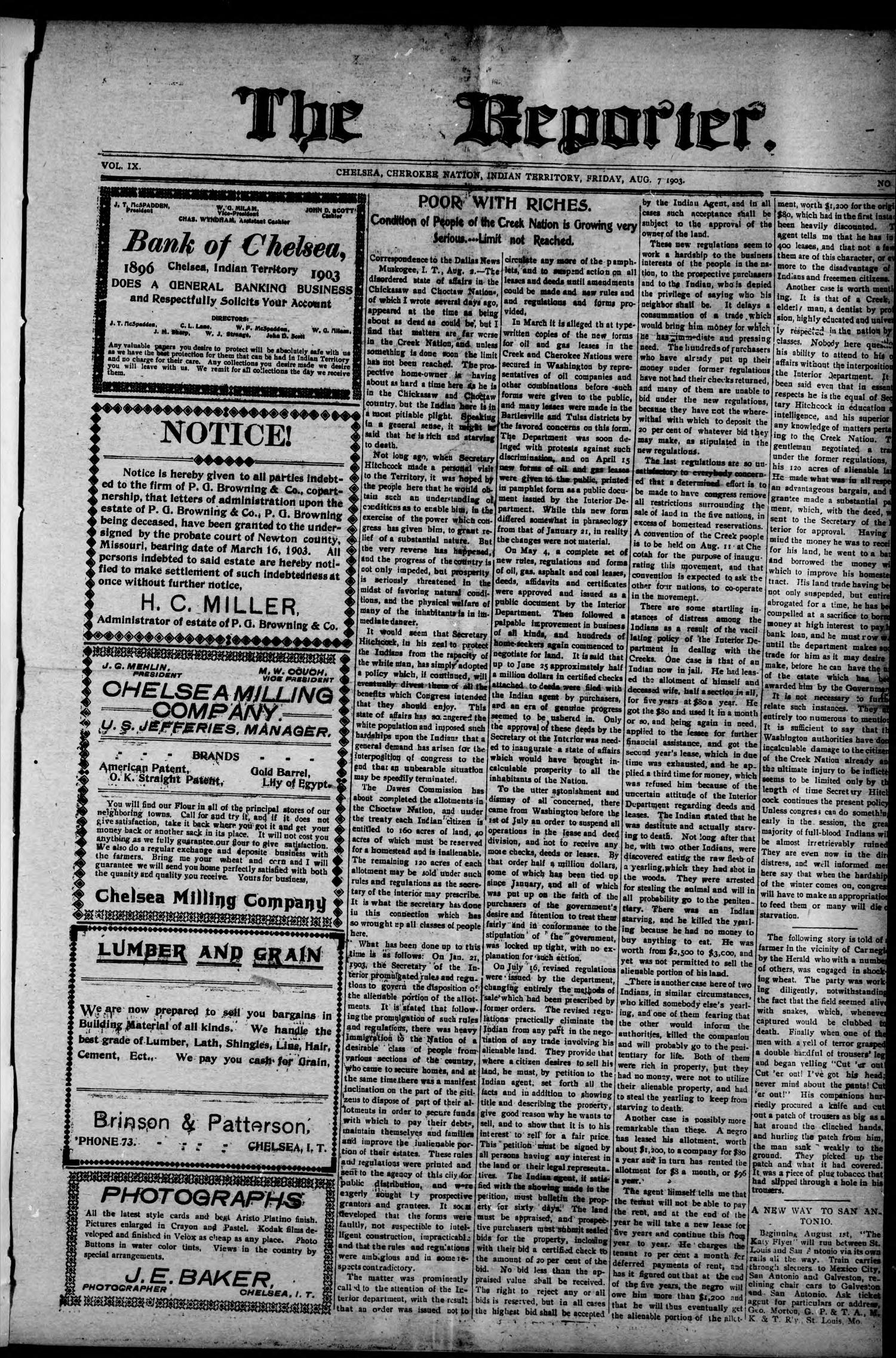 The Reporter. (Chelsea, Indian Terr.), Vol. 9, No. 14, Ed. 1 Friday, August 7, 1903                                                                                                      [Sequence #]: 1 of 8