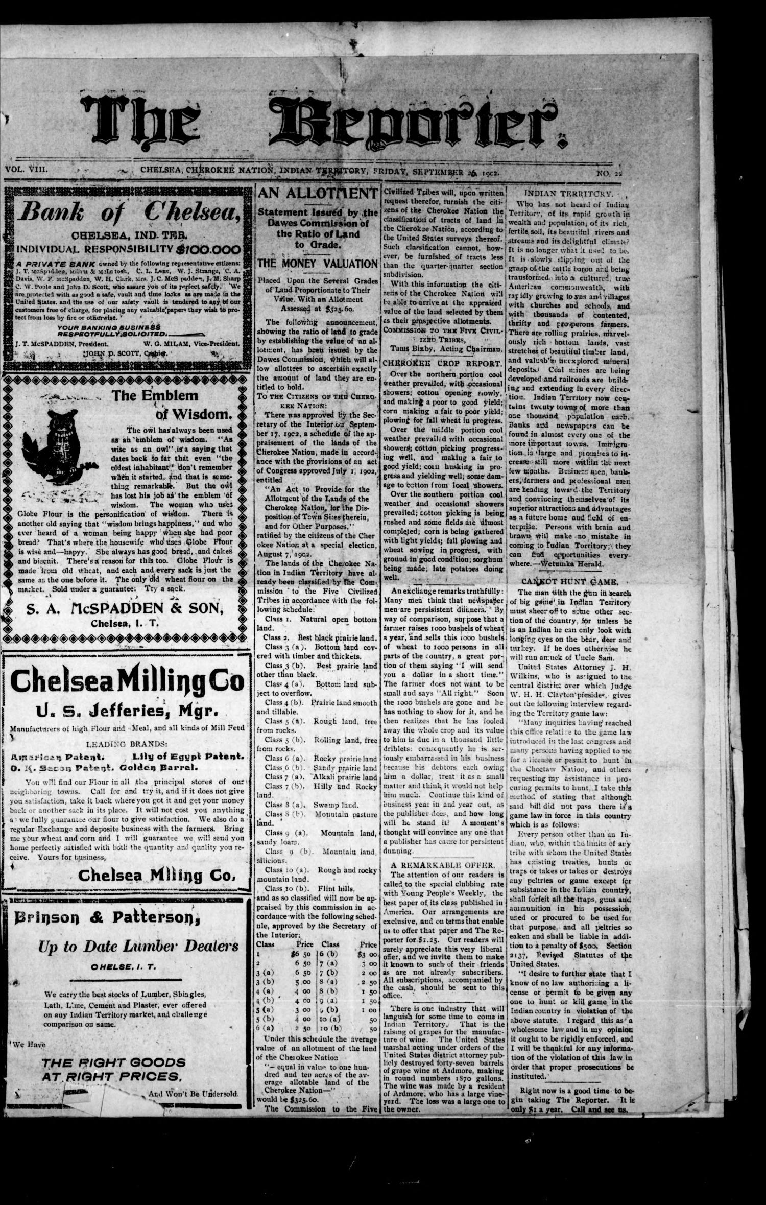 The Reporter. (Chelsea, Indian Terr.), Vol. 8, No. 22, Ed. 1 Friday, September 26, 1902                                                                                                      [Sequence #]: 1 of 8
