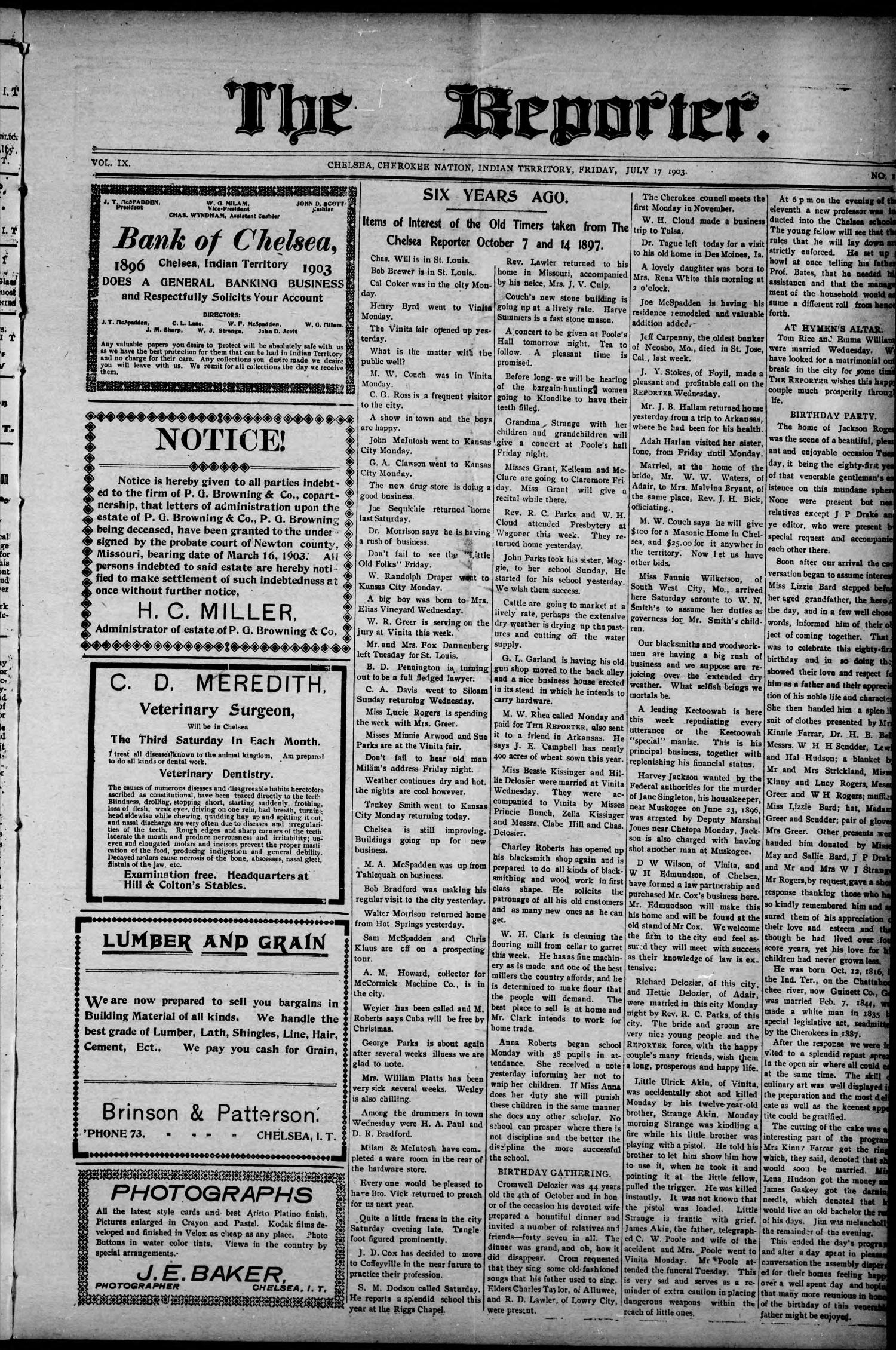 The Reporter. (Chelsea, Indian Terr.), Vol. 9, No. 11, Ed. 1 Friday, July 17, 1903                                                                                                      [Sequence #]: 1 of 8