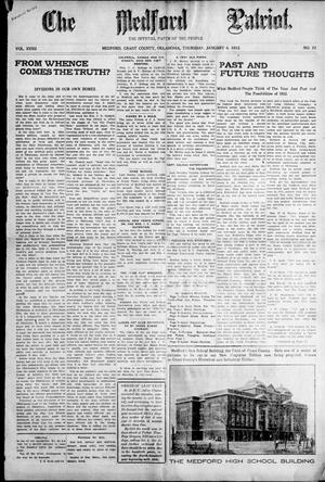 Primary view of object titled 'The Medford Patriot. (Medford, Okla.), Vol. 19, No. 13, Ed. 1 Thursday, January 4, 1912'.