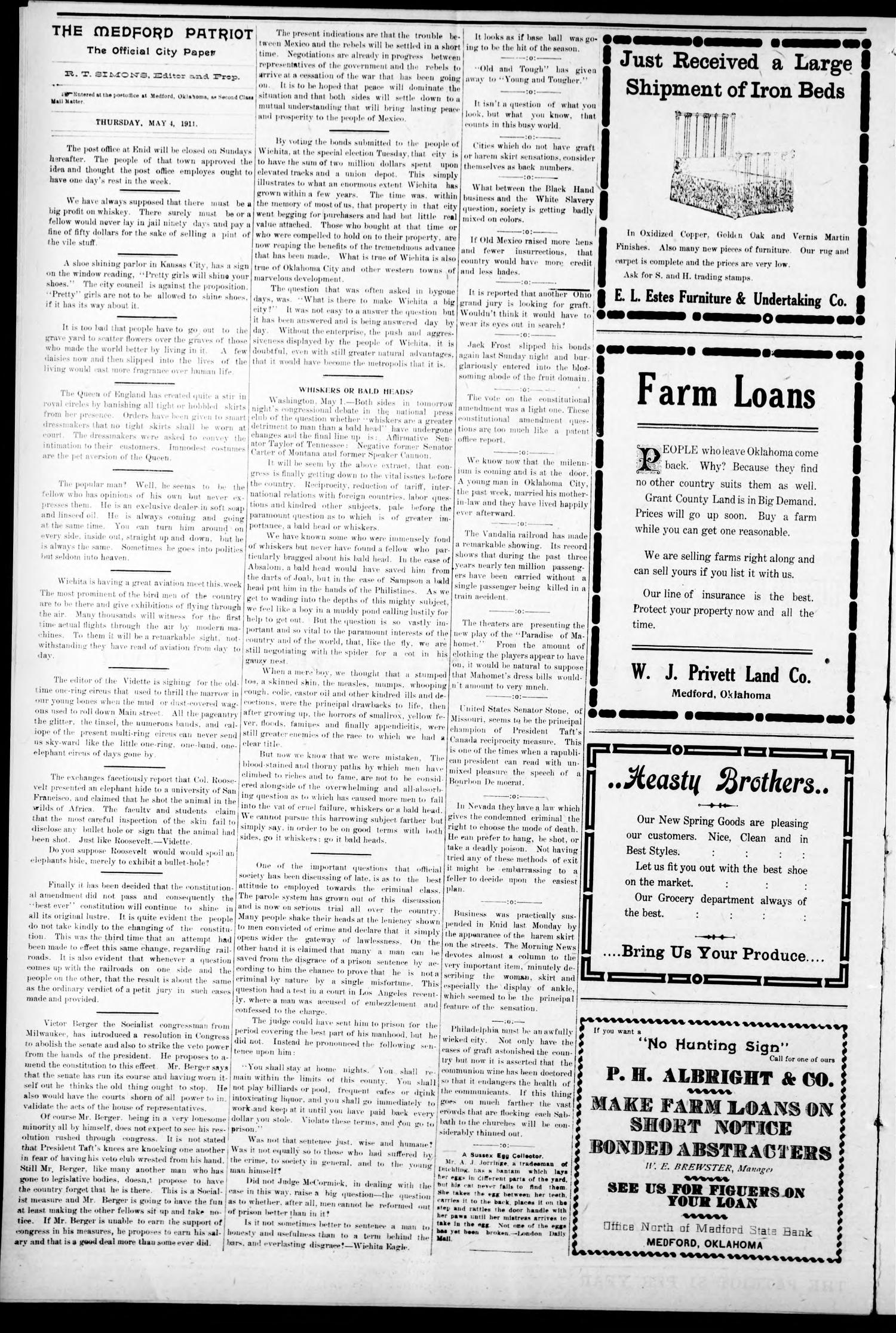 The Medford Patriot. (Medford, Okla.), Vol. 18, No. 30, Ed. 1 Thursday, May 4, 1911                                                                                                      [Sequence #]: 4 of 8