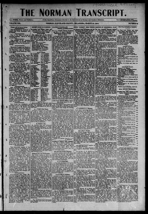 Primary view of object titled 'The Norman Transcript. (Norman, Okla.), Vol. 13, No. 19, Ed. 1 Thursday, March 20, 1902'.